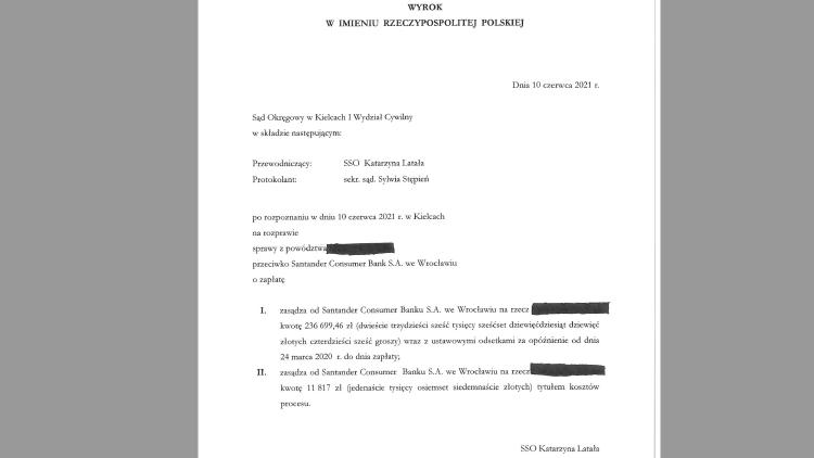 Wyrok Sądu Okręgowego w Kielcach- Unieważnienie kredytu frankowego, Santander Consumer Bank S.A musi zwrócić łącznie ponad 250 tyś zł na rzecz naszej klientki.